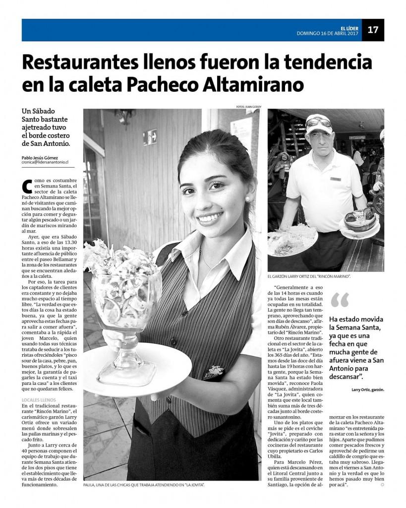 Restaurantes llenos fueron la tendencia en la caleta Pacheco Altamirano